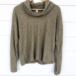 bp Olive Green Ribbed Cowl Neck LS Top
